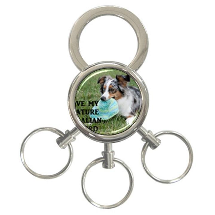 Blue Merle Miniature American Shepherd Love W Pic 3-Ring Key Chains
