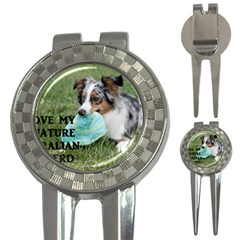 Blue Merle Miniature American Shepherd Love W Pic 3-in-1 Golf Divots
