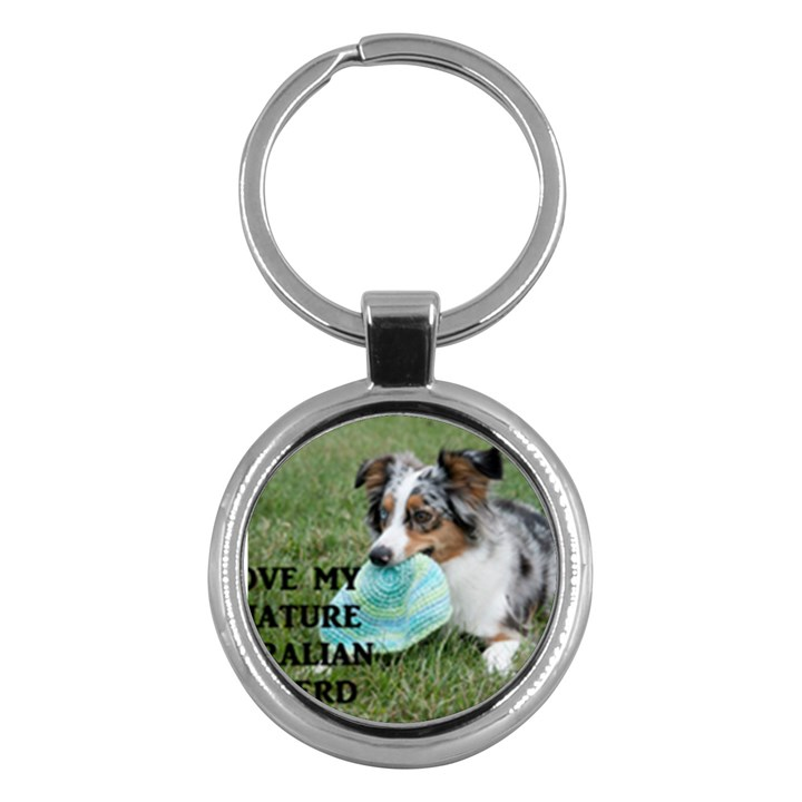 Blue Merle Miniature American Shepherd Love W Pic Key Chains (Round)