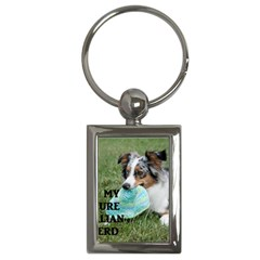 Blue Merle Miniature American Shepherd Love W Pic Key Chains (Rectangle)