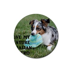 Blue Merle Miniature American Shepherd Love W Pic Rubber Round Coaster (4 pack)