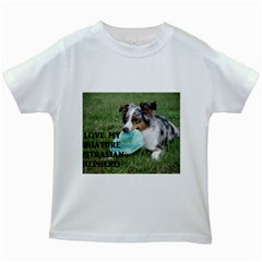Blue Merle Miniature American Shepherd Love W Pic Kids White T-Shirts