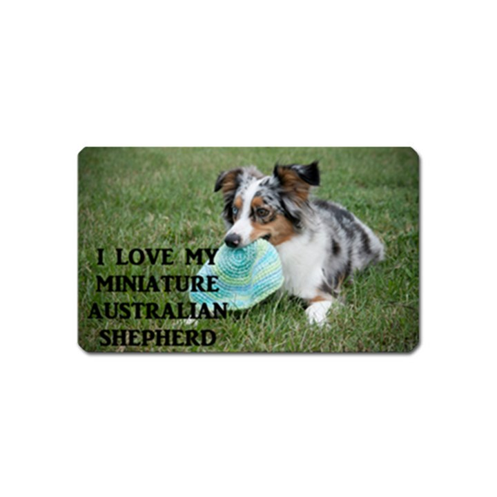 Blue Merle Miniature American Shepherd Love W Pic Magnet (Name Card)