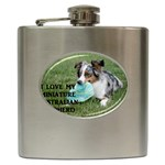 Blue Merle Miniature American Shepherd Love W Pic Hip Flask (6 oz) Front