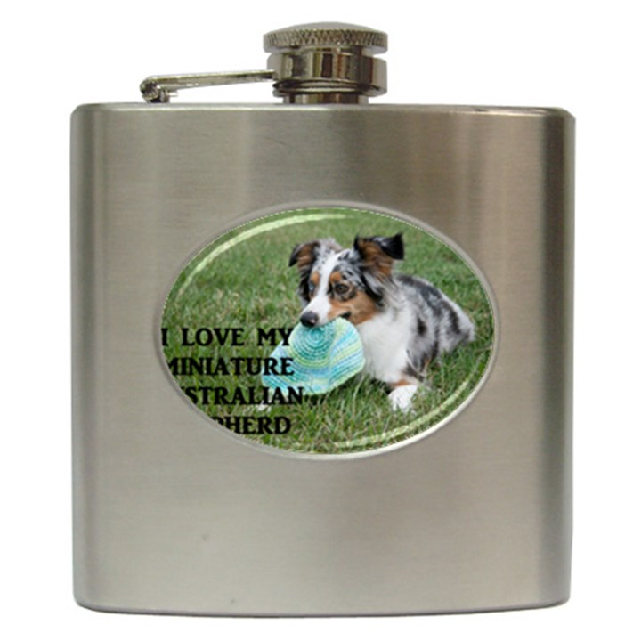 Blue Merle Miniature American Shepherd Love W Pic Hip Flask (6 oz)