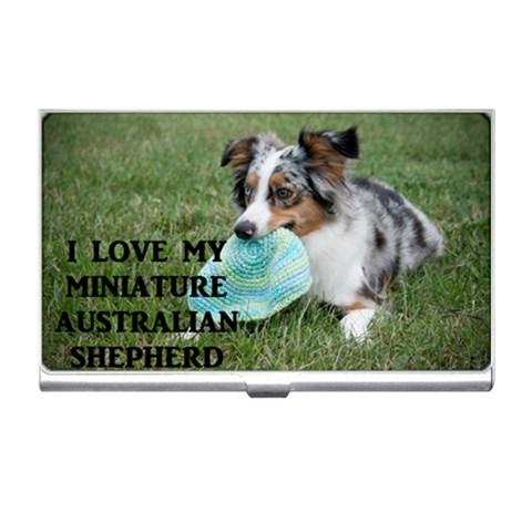 Blue Merle Miniature American Shepherd Love W Pic Business Card Holders