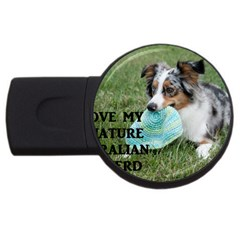 Blue Merle Miniature American Shepherd Love W Pic USB Flash Drive Round (2 GB)