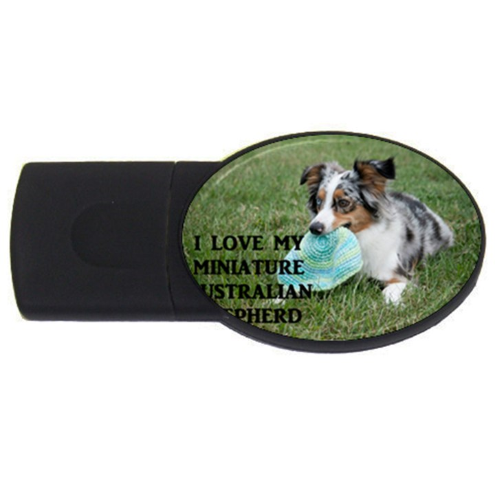 Blue Merle Miniature American Shepherd Love W Pic USB Flash Drive Oval (2 GB)