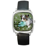 Blue Merle Miniature American Shepherd Love W Pic Square Metal Watch Front