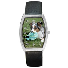 Blue Merle Miniature American Shepherd Love W Pic Barrel Style Metal Watch