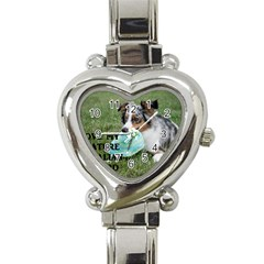 Blue Merle Miniature American Shepherd Love W Pic Heart Italian Charm Watch