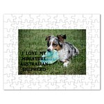 Blue Merle Miniature American Shepherd Love W Pic Rectangular Jigsaw Puzzl Front