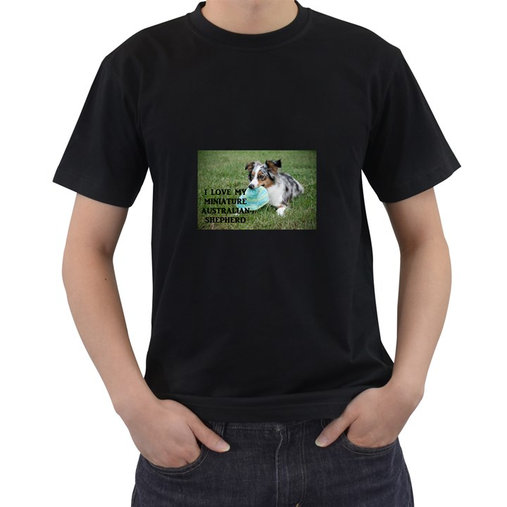 Blue Merle Miniature American Shepherd Love W Pic Men s T-Shirt (Black) (Two Sided)