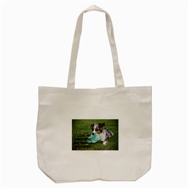 Blue Merle Miniature American Shepherd Love W Pic Tote Bag (Cream)