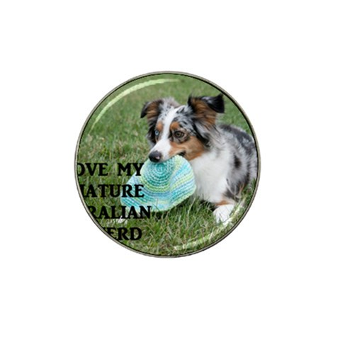 Blue Merle Miniature American Shepherd Love W Pic Hat Clip Ball Marker (10 pack)