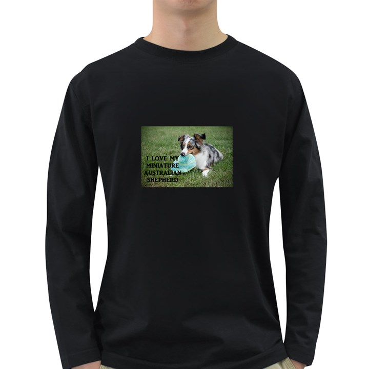 Blue Merle Miniature American Shepherd Love W Pic Long Sleeve Dark T-Shirts