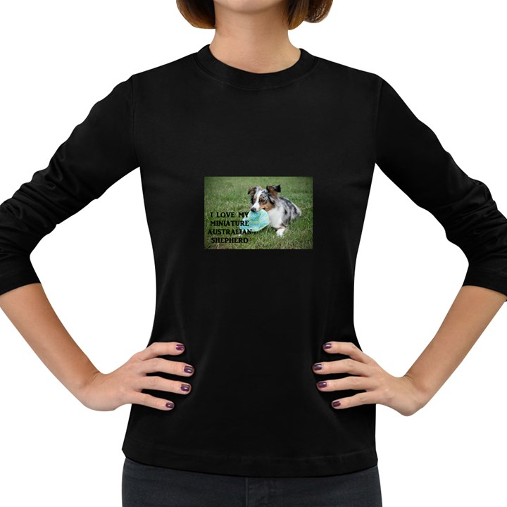 Blue Merle Miniature American Shepherd Love W Pic Women s Long Sleeve Dark T-Shirts