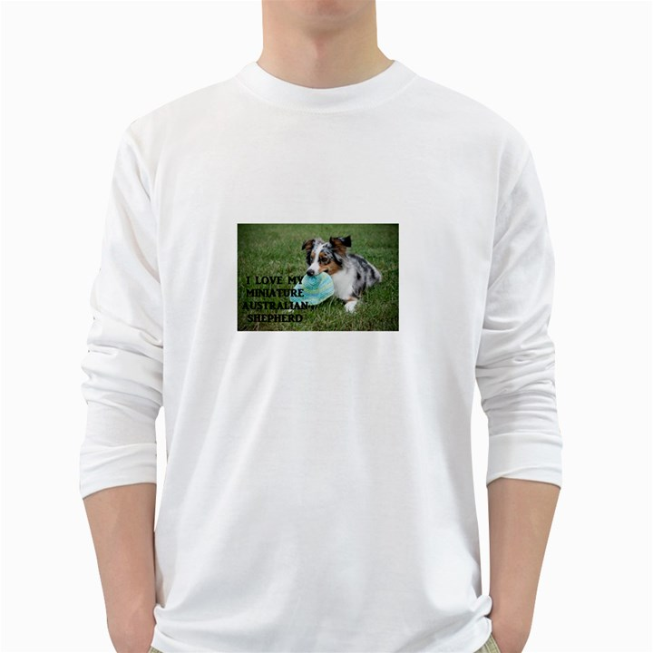 Blue Merle Miniature American Shepherd Love W Pic White Long Sleeve T-Shirts