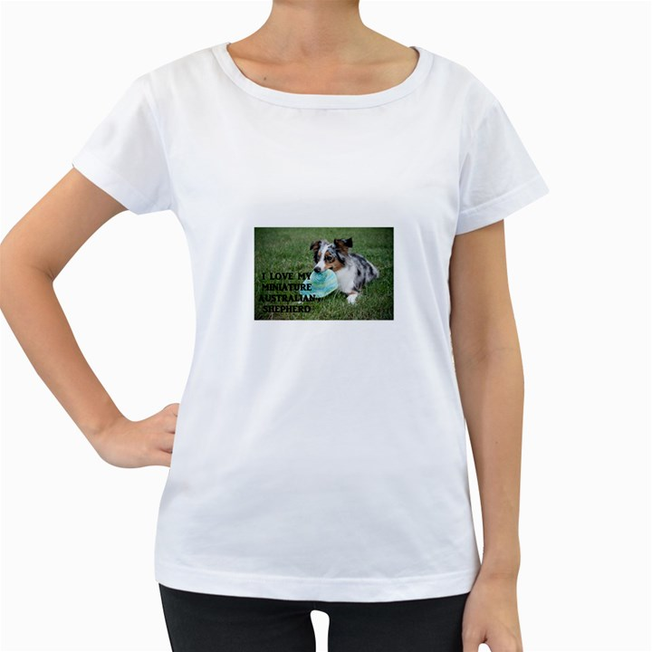 Blue Merle Miniature American Shepherd Love W Pic Women s Loose-Fit T-Shirt (White)