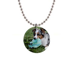 Blue Merle Miniature American Shepherd Love W Pic Button Necklaces