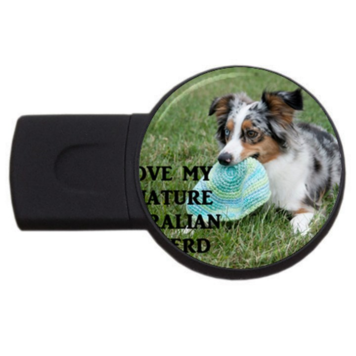 Blue Merle Miniature American Shepherd Love W Pic USB Flash Drive Round (4 GB)