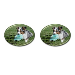 Blue Merle Miniature American Shepherd Love W Pic Cufflinks (Oval)