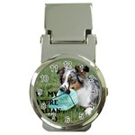Blue Merle Miniature American Shepherd Love W Pic Money Clip Watches Front