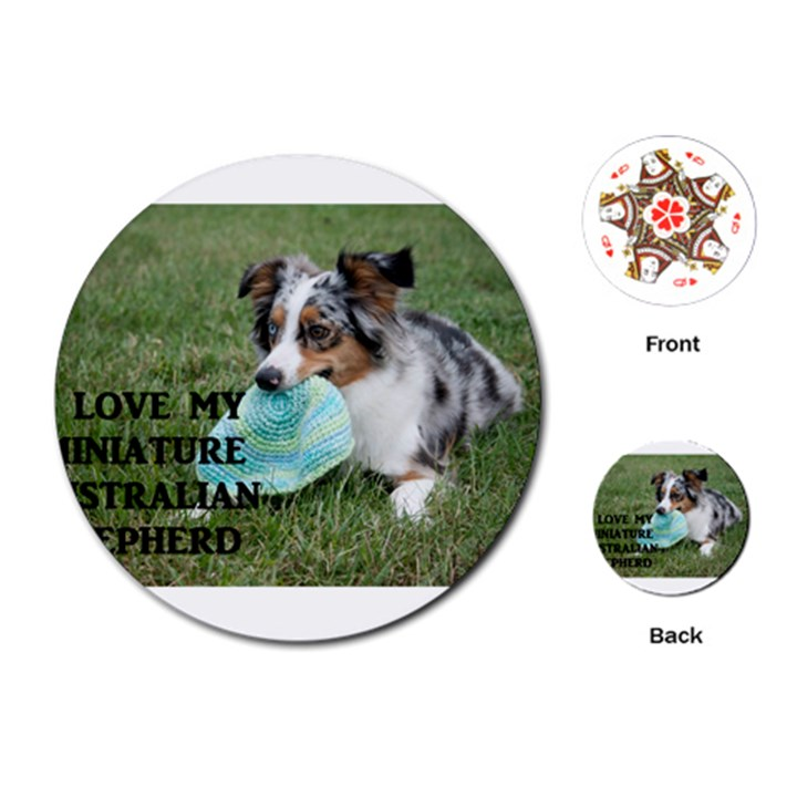 Blue Merle Miniature American Shepherd Love W Pic Playing Cards (Round)
