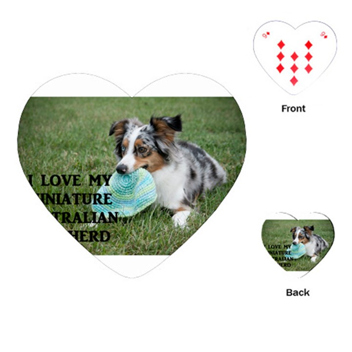 Blue Merle Miniature American Shepherd Love W Pic Playing Cards (Heart)