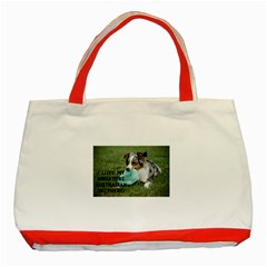 Blue Merle Miniature American Shepherd Love W Pic Classic Tote Bag (Red)