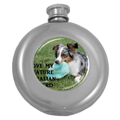 Blue Merle Miniature American Shepherd Love W Pic Round Hip Flask (5 oz)