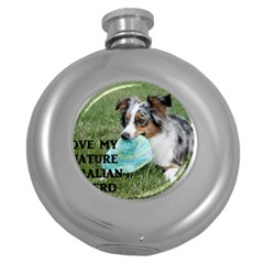 Blue Merle Miniature American Shepherd Love W Pic Round Hip Flask (5 oz)