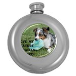 Blue Merle Miniature American Shepherd Love W Pic Round Hip Flask (5 oz) Front