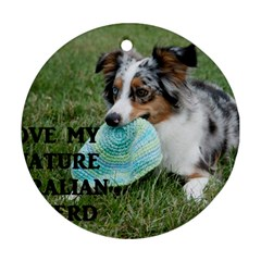 Blue Merle Miniature American Shepherd Love W Pic Round Ornament (Two Sides)