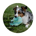 Blue Merle Miniature American Shepherd Love W Pic Round Ornament (Two Sides)  Back
