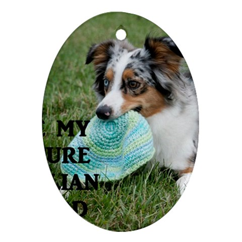 Blue Merle Miniature American Shepherd Love W Pic Oval Ornament (Two Sides)