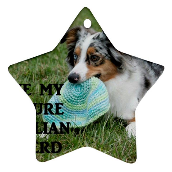 Blue Merle Miniature American Shepherd Love W Pic Star Ornament (Two Sides)