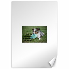 Blue Merle Miniature American Shepherd Love W Pic Canvas 12  x 18