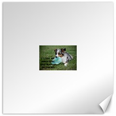 Blue Merle Miniature American Shepherd Love W Pic Canvas 20  x 20