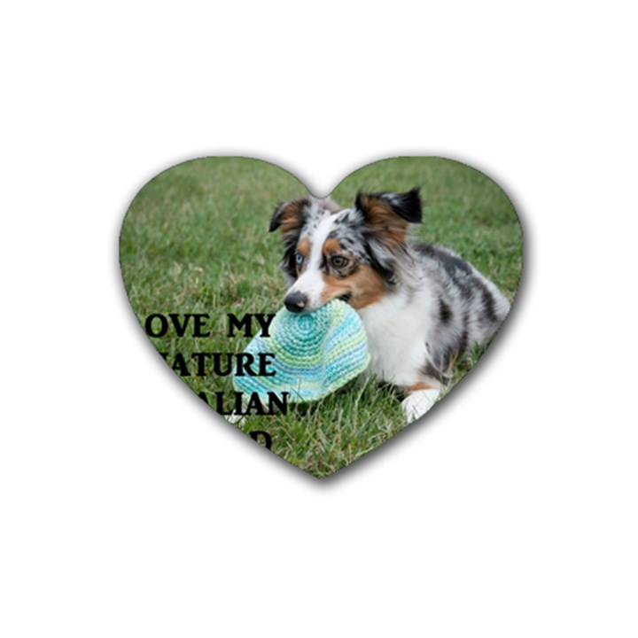 Blue Merle Miniature American Shepherd Love W Pic Rubber Coaster (Heart)