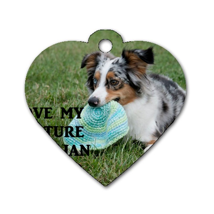 Blue Merle Miniature American Shepherd Love W Pic Dog Tag Heart (Two Sides)