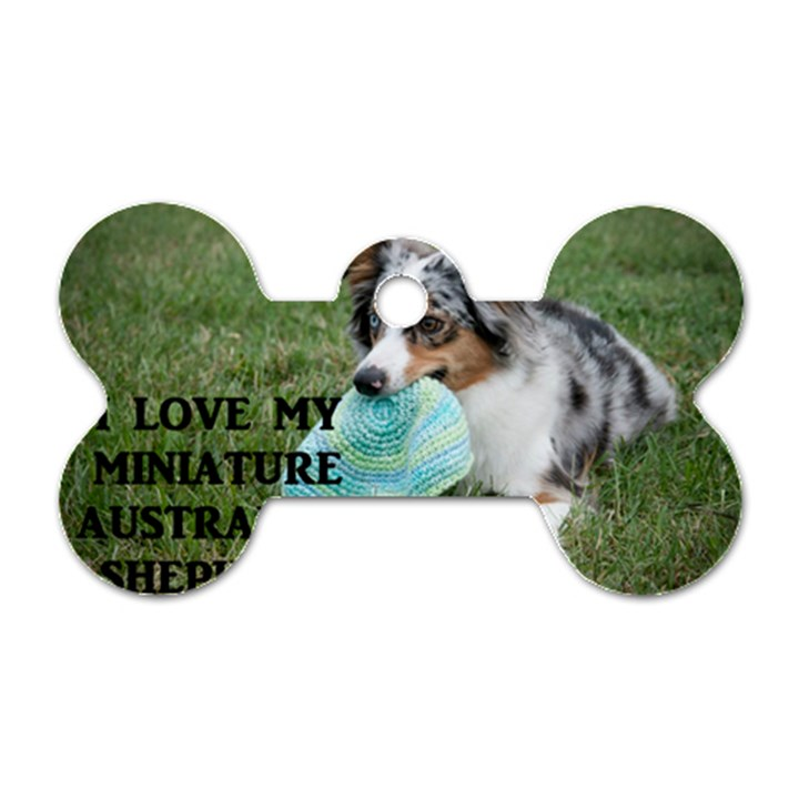 Blue Merle Miniature American Shepherd Love W Pic Dog Tag Bone (Two Sides)