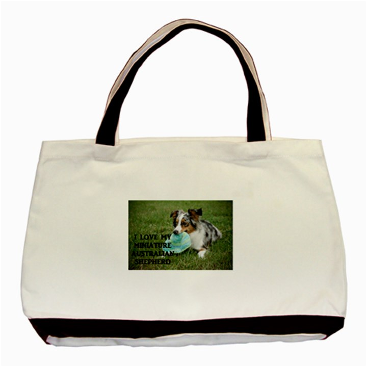 Blue Merle Miniature American Shepherd Love W Pic Basic Tote Bag (Two Sides)
