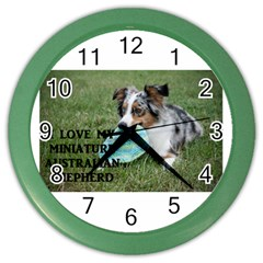Blue Merle Miniature American Shepherd Love W Pic Color Wall Clocks