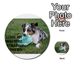 Blue Merle Miniature American Shepherd Love W Pic Multi-purpose Cards (Round)  Back 49