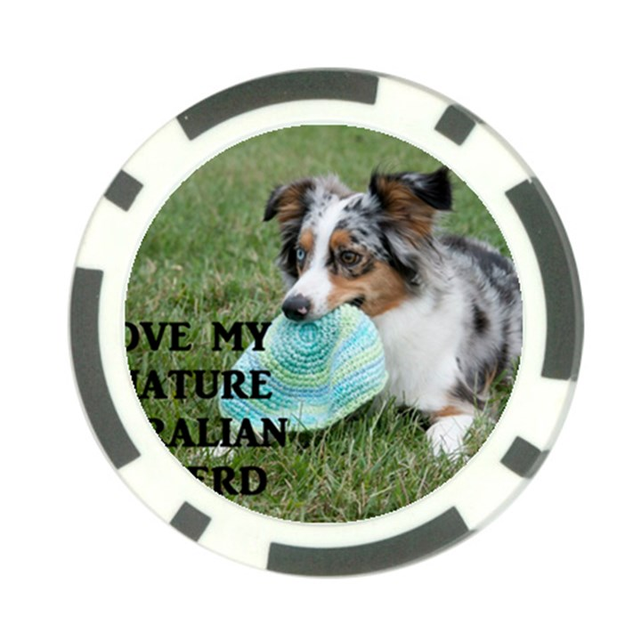 Blue Merle Miniature American Shepherd Love W Pic Poker Chip Card Guards (10 pack)