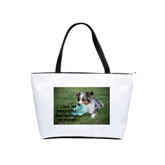 Blue Merle Miniature American Shepherd Love W Pic Shoulder Handbags