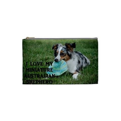 Blue Merle Miniature American Shepherd Love W Pic Cosmetic Bag (Small)