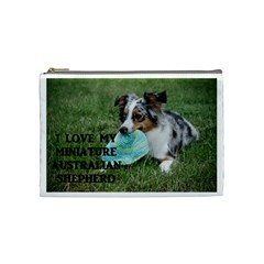 Blue Merle Miniature American Shepherd Love W Pic Cosmetic Bag (Medium)