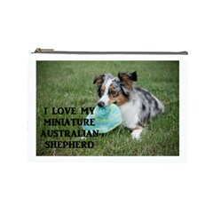 Blue Merle Miniature American Shepherd Love W Pic Cosmetic Bag (large)
